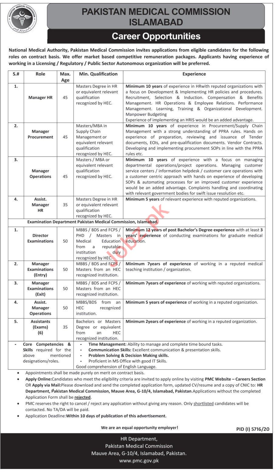 Pakistan Medical Commission PMC Jobs 2021 for Managers