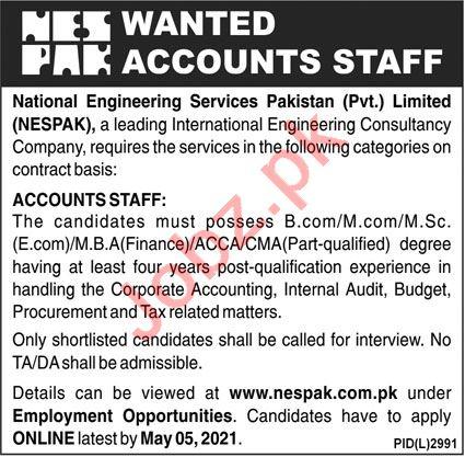 National Engineering Services NESPAK Jobs 2021 Account Staff