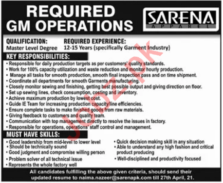 Sarena Apparel Lahore Jobs 2021 for GM Operations