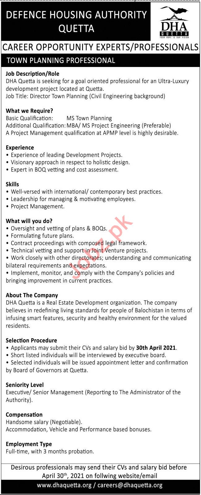 DHA Quetta Jobs 2021 for Town Planning Professional