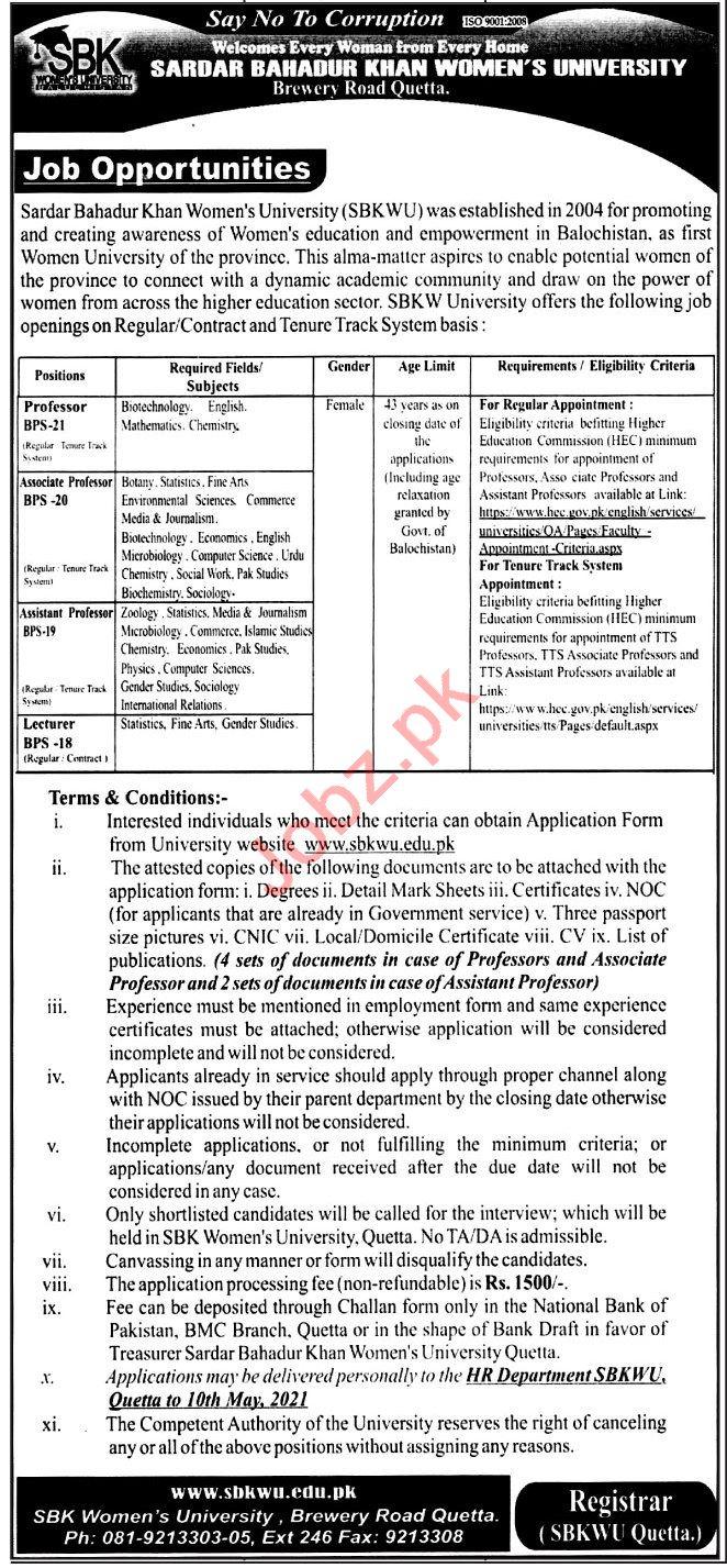 Sardar Bahadur Khan Women University SBKWU Jobs 2021