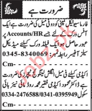 Accountant & English Language Teacher Jobs 2021 in Quetta