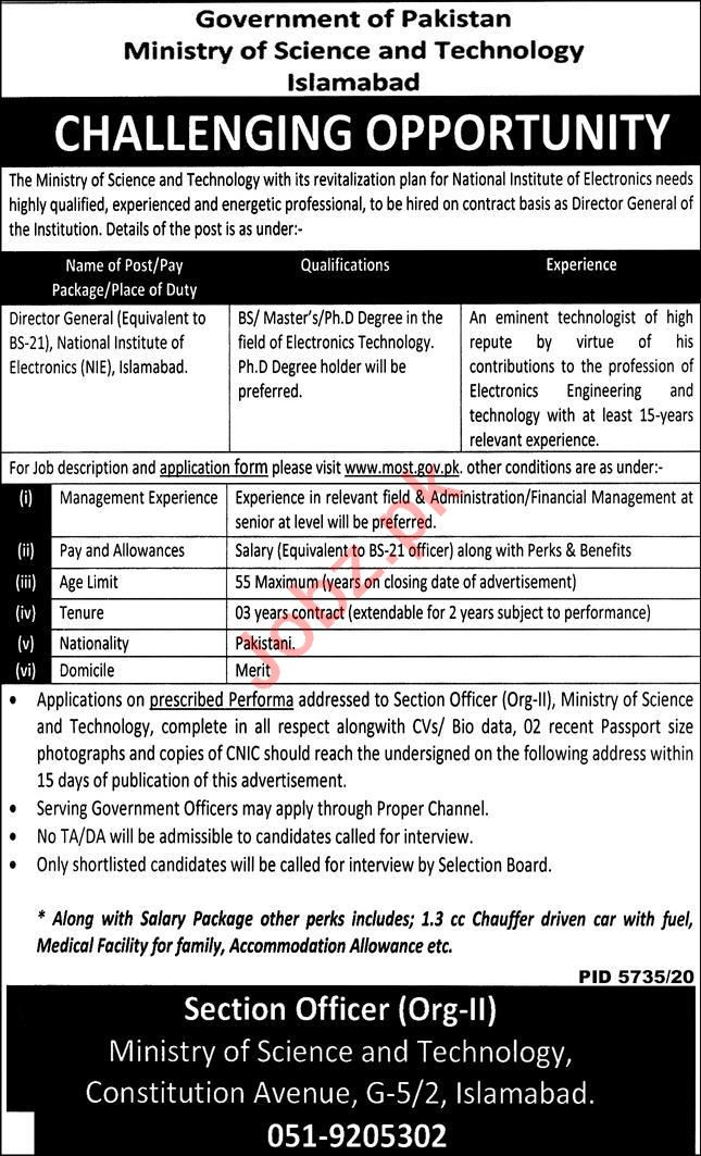 National Institute of Electronics NIE Islamabad Jobs 2021