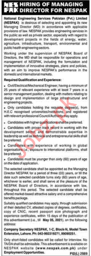 NESPAK National Engineering Services Pakistan Jobs for MD