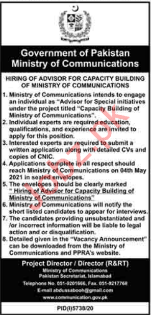 Ministry of Communications Islamabad Jobs 2021 for Advisor
