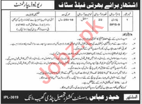 Assistant Commissioner AC Pindi Gheb Jobs 2021 for Patwari