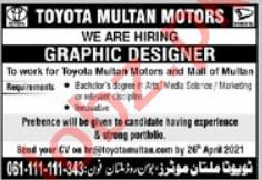 Toyota Multan Motors Jobs 2021 for Graphic Designer