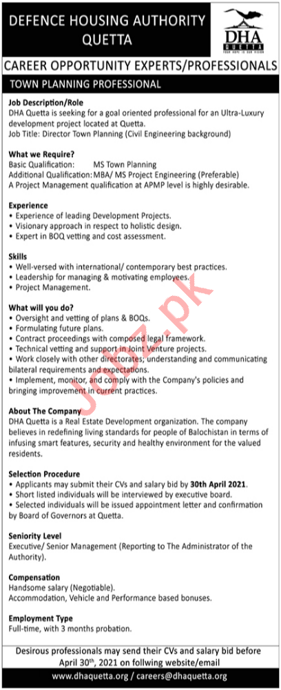 Town Planning Professional Jobs 2021 in DHA Quetta
