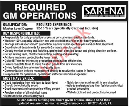 Sarena Textile Industries Lahore Jobs 2021 for GM Operations
