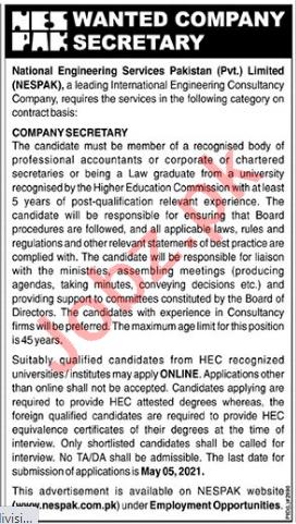 Company Secretary Jobs 2021 in NESPAK National Engineering