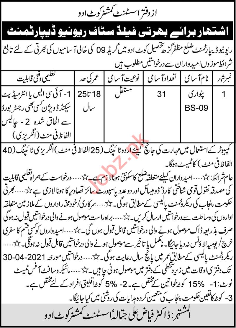 Assistant Commissioner AC Kot Addu Jobs 2021 for Patwari
