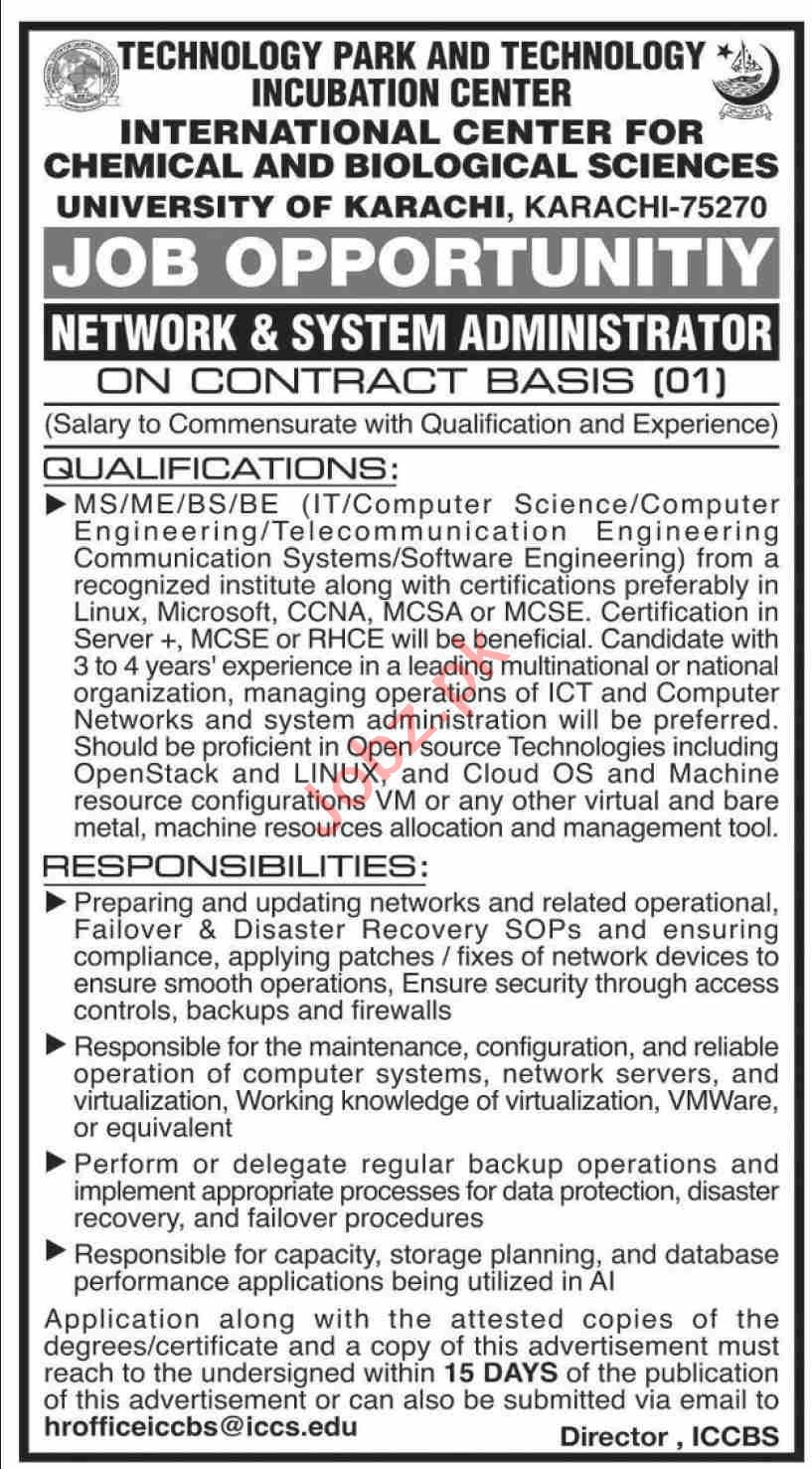 International Center for Chemical & Biological ICCBS Jobs