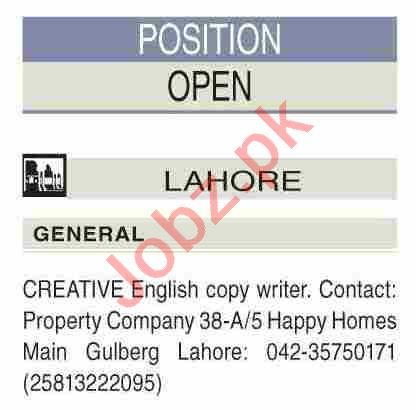 Creative Copy Writer Jobs 2021 in Lahore