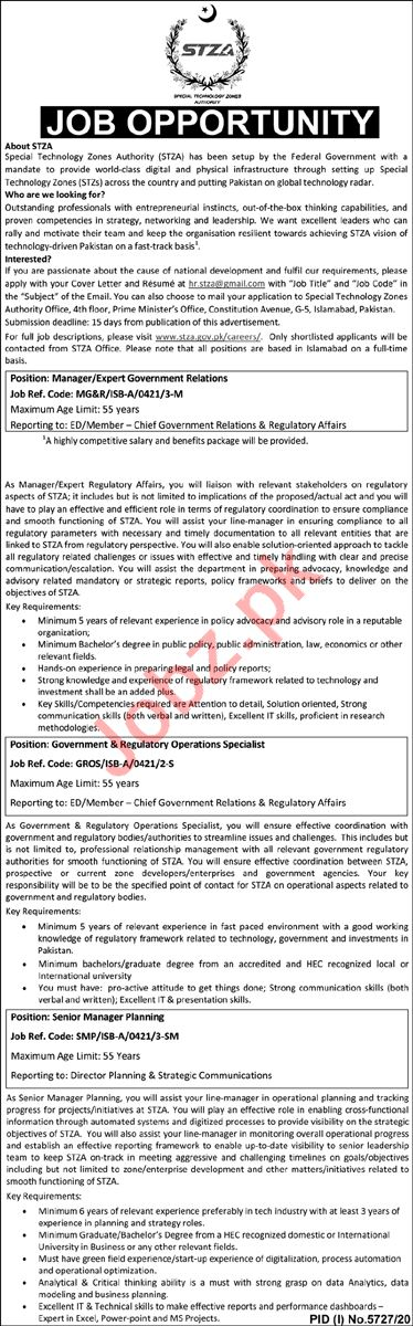 Special Technology Zones Authority STZA Jobs 2021 Managers