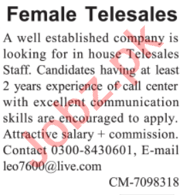 Female Telesales Officer & Sales Representative Jobs 2021
