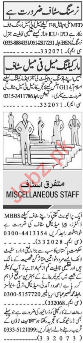 Nursing Staff & Paramedical Staff Jobs 2021 in Islamabad