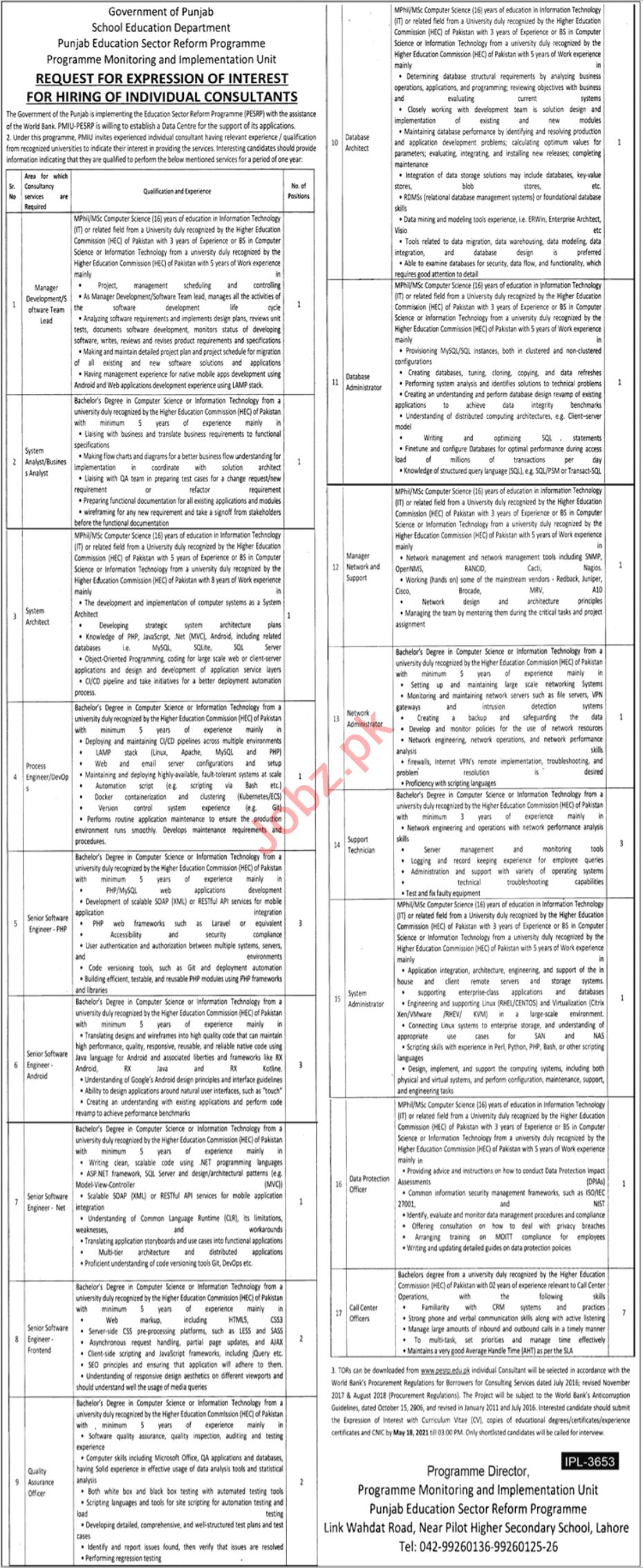 School Education Department Punjab Jobs 2021