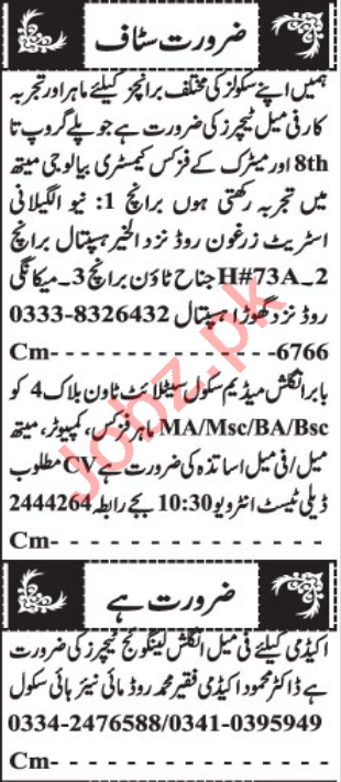 Teacher & English Language Teacher Jobs 2021 in Quetta