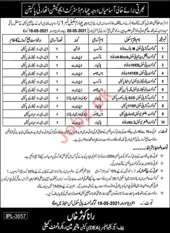 District Education Authority DEA Pakpattan Jobs 2021