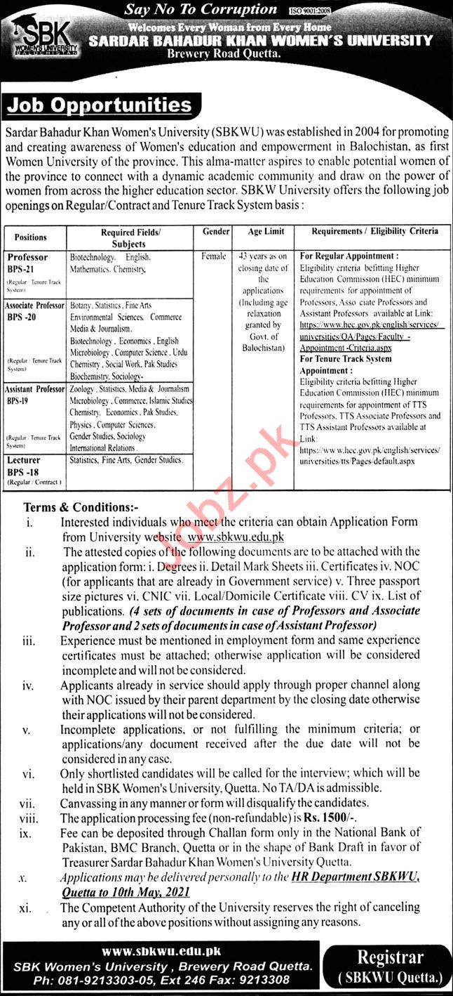 Sardar Bahadur Khan Women University SBKWU Jobs Professors