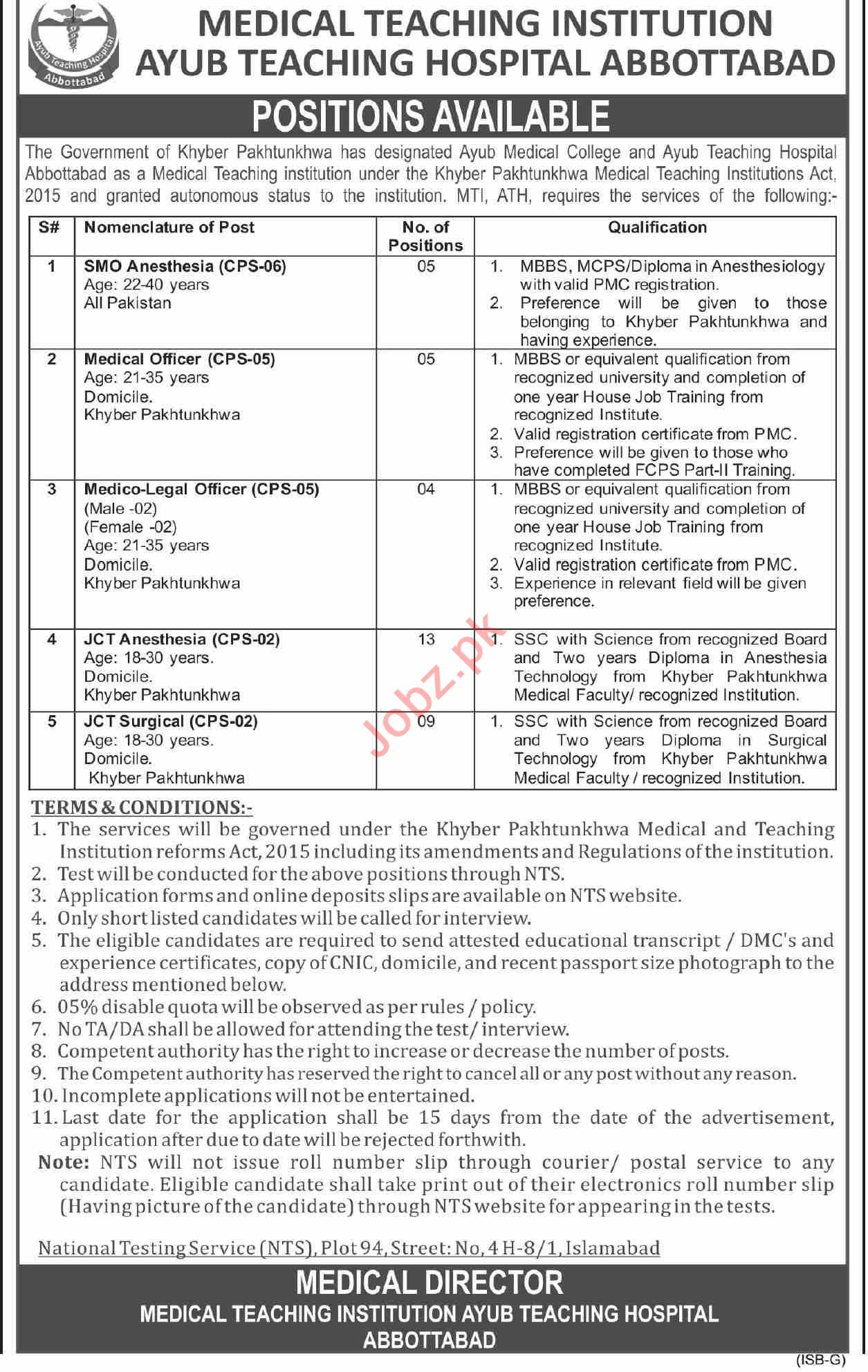 Ayub Teaching Hospital ATH MTI Abbottabad Jobs 2021