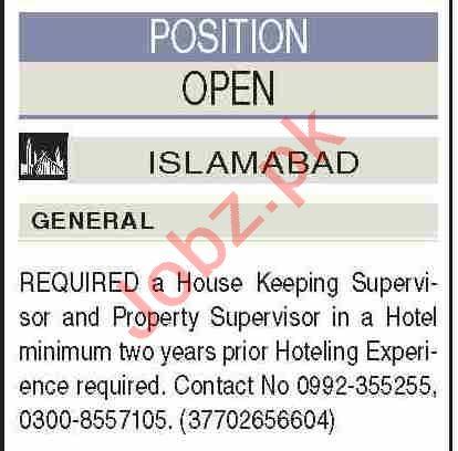 House Keeping Supervisor & Property Supervisor Jobs 2021