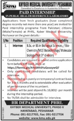 Khyber Medical University KMU Peshawar Internship 2021