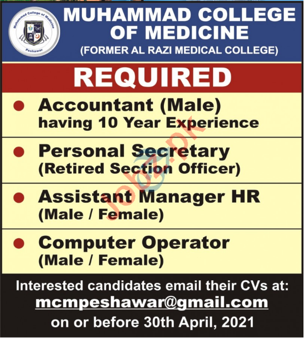 Muhammad College of Medicine MCM Peshawar Jobs 2021
