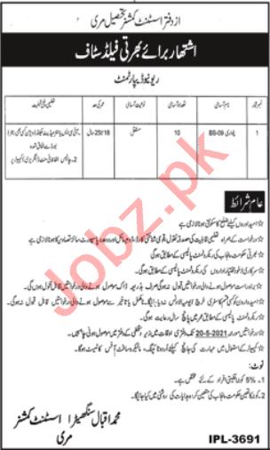 Assistant Commissioner AC Tehsil Murree Jobs 2021 Patwari