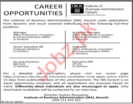 Institute of Business Administration IBA Jobs 2021 Managers