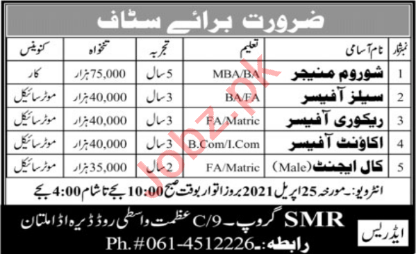 SMR Group Multan Jobs 2021 for Recovery Officer & Call Agent