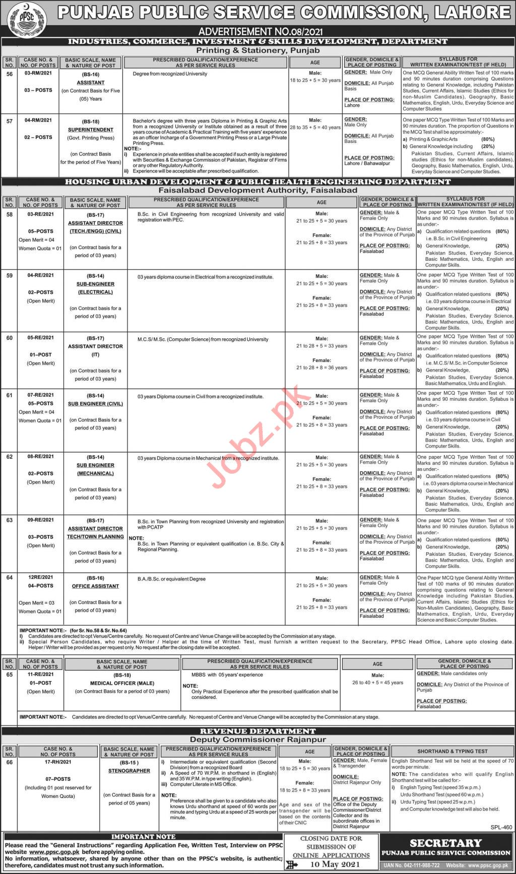 PPSC Punjab Public Service Commission Jobs May 2021