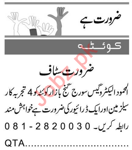 Salesman & Driver Jobs 2021 in Quetta