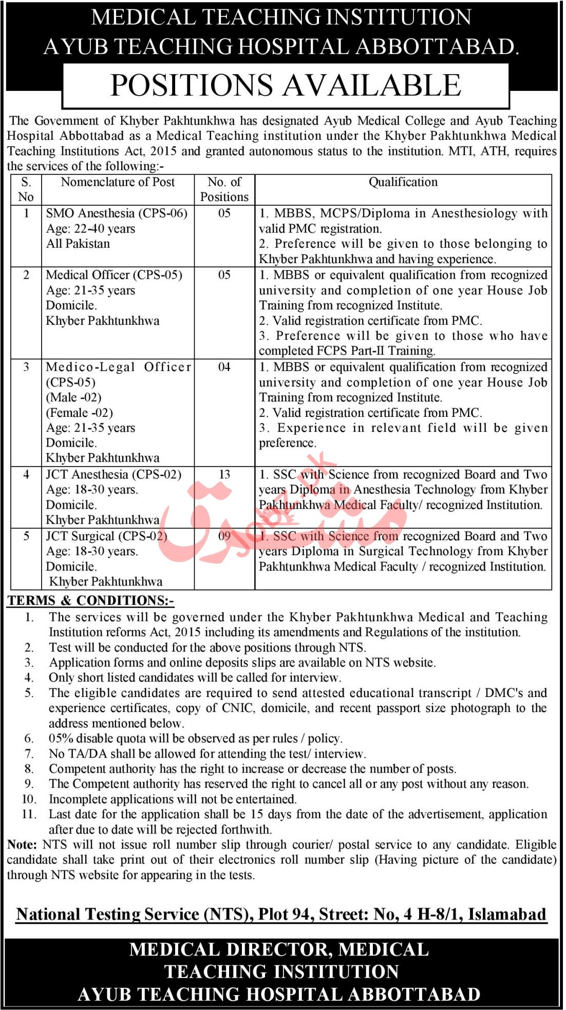 Ayub Teaching Hospital ATH Jobs 2021 for Medical Officers