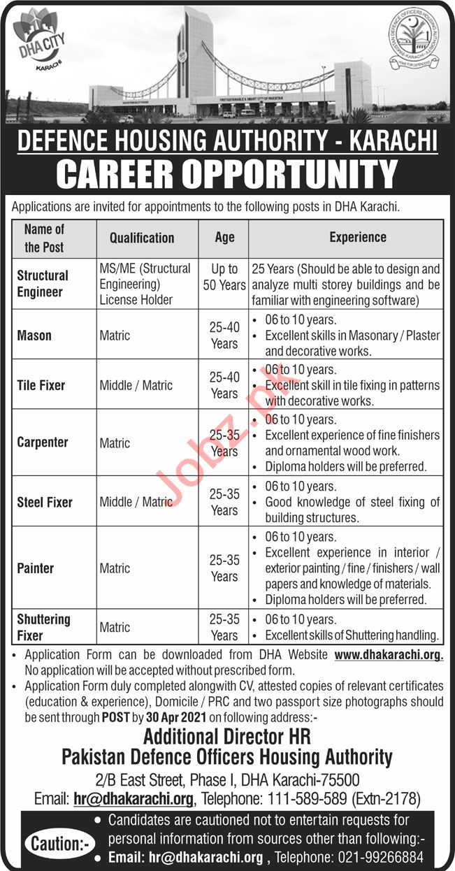 Defence Housing Authority DHA Karachi Jobs 2021 for Engineer