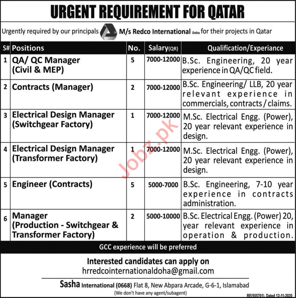 QA Manager & Contracts Manager Jobs 2021 in Qatar