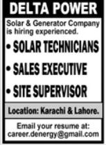 Solar & Generator Company Jobs 2021 in Karachi & Lahore