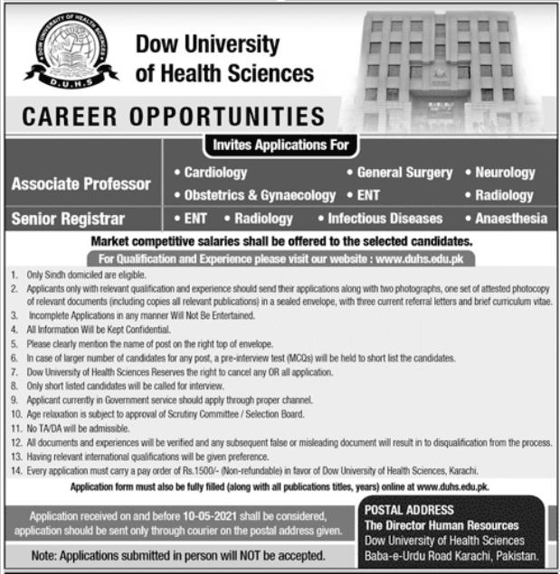 Dow University of Health Sciences Jobs 2021 in Karachi