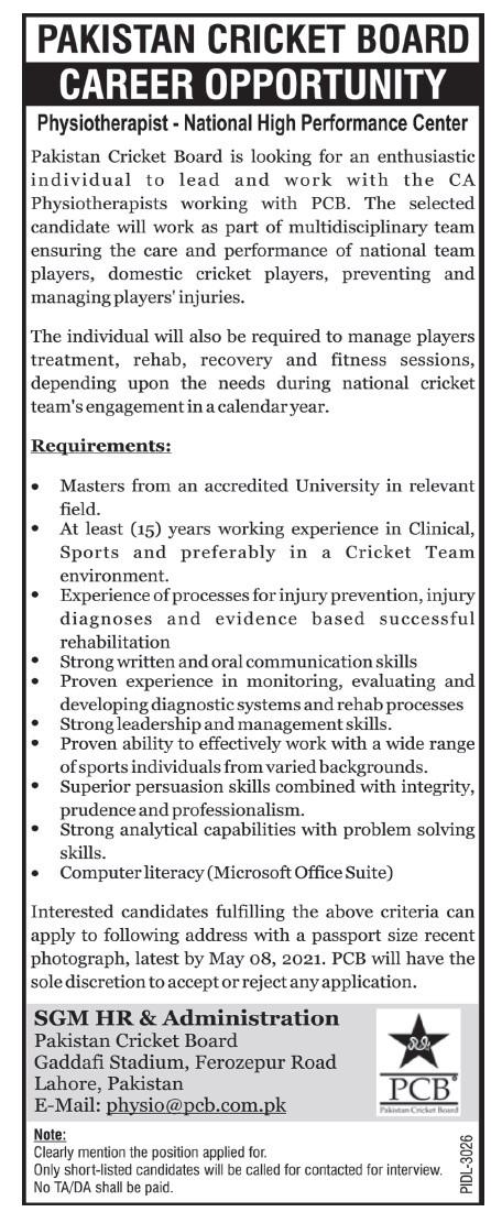 Pakistan Cricket Board PCB Jobs 2021