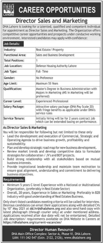DHA Lahore Jobs 2021