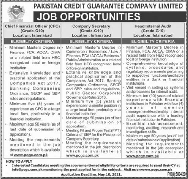 Pakistan Credit Guarantee Company Limited Jobs 2021