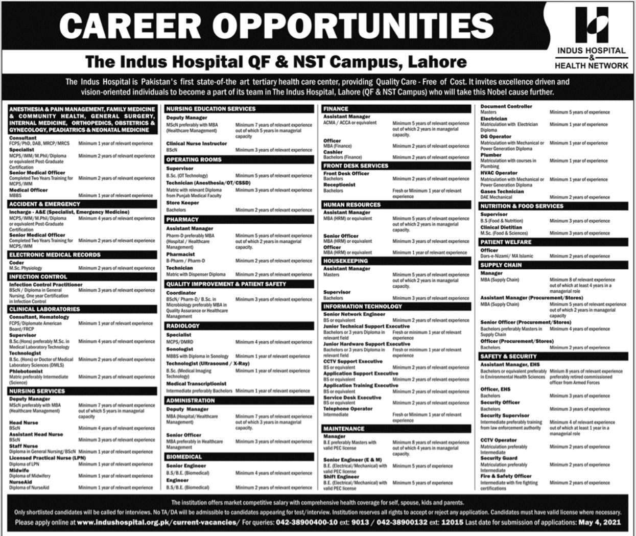 The Indus Hospital Jobs 2021 in Lahore