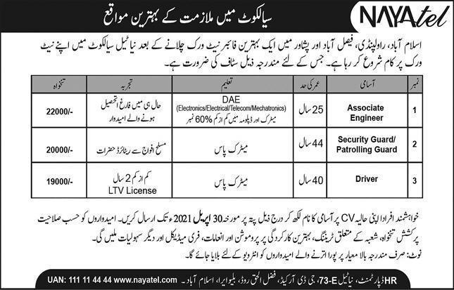 Nayatel Pvt Limited Jobs 2021 in Sialkot