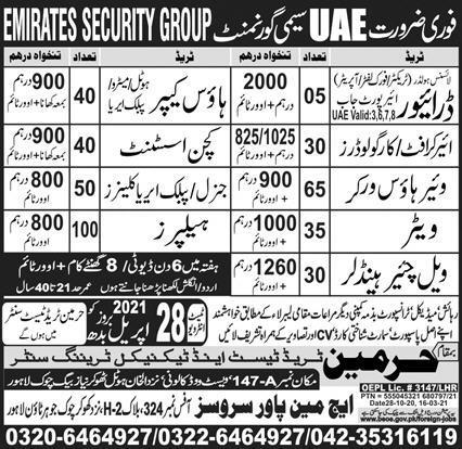 Emirates Security Group Jobs in United Arab Emirates UAE
