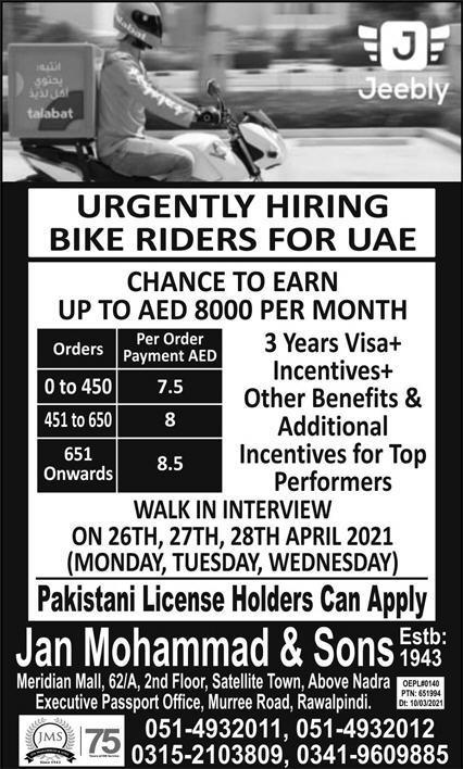 Bike Riders Jobs 2021 in United Arab Emirates UAE