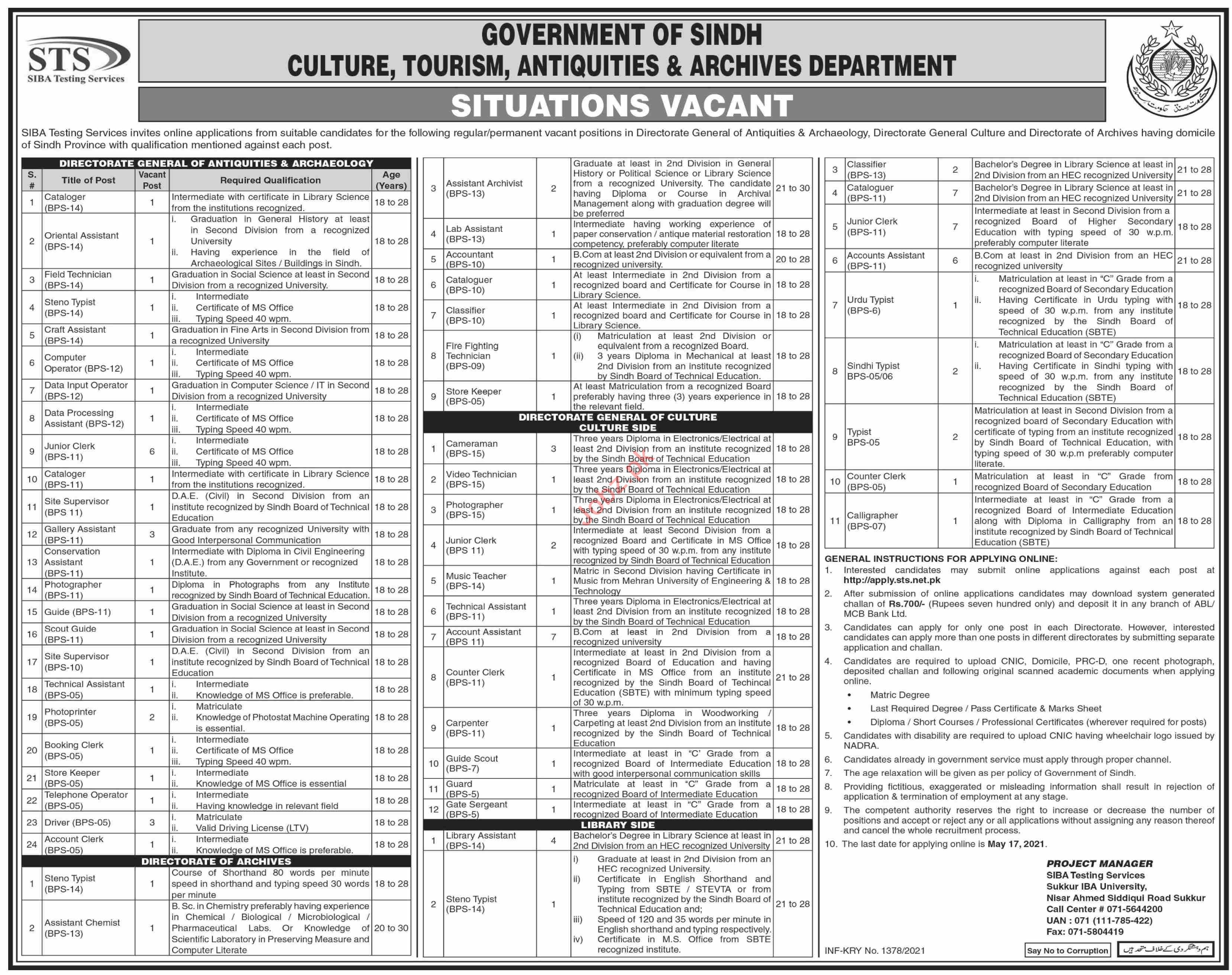 Culture Tourism Antiquities & Archives Department Jobs 2021