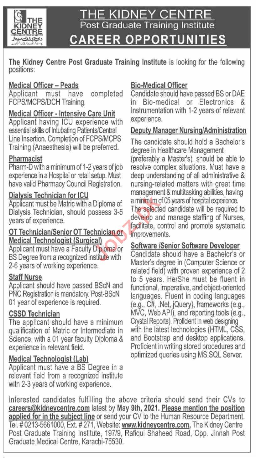 The Kidney Centre Karachi Jobs 2021 for Medical Officers