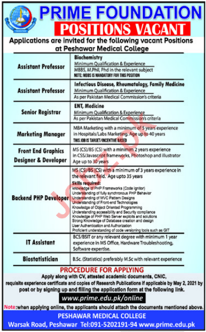 Peshawar Medical College PMC Jobs 2021 for Professors