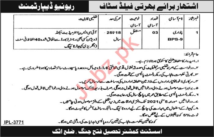 Assistant Commissioner AC Tehsil Fateh Jang Jobs 2021