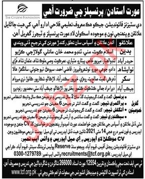 Teachers Jobs 2021 in The Citizens Foundation TCF Sindh